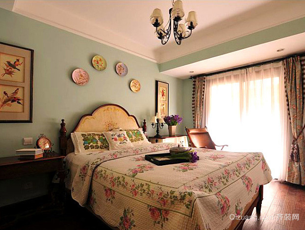 美式简约风格室内卧室装修效果图