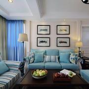 美式新款卧客厅简约蓝色沙发设计