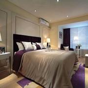 现代简约卧室紫色点缀