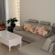 复式楼简约风格浅灰色皮制沙发
