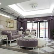 客厅紫色家具摆放
