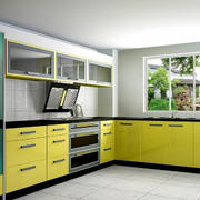 厨房金黄色橱柜门板