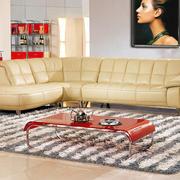 简约风格米白色皮制沙发