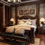 美式室内卧室床头背景墙