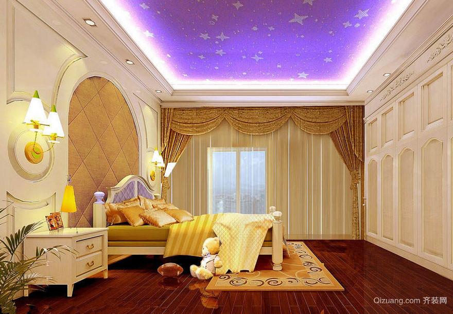 梦幻20平米卧室紫色背景图片大全