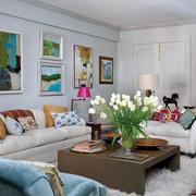 韩式唯美简约客厅沙发设计