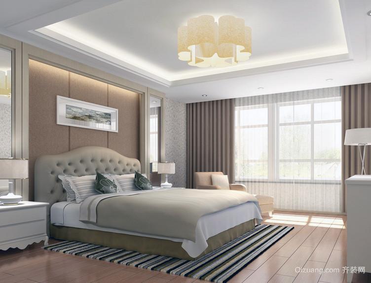 现代大户型卧室背景墙装修效果图
