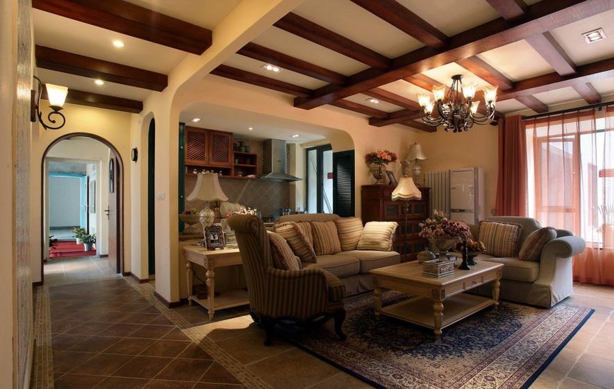 别墅田园风格客厅吊顶装修效果图
