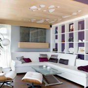 客厅紫色置物架墙面