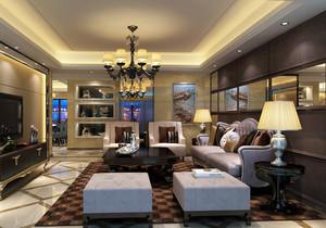 大户型三室一厅欧式风格客厅装修效果图