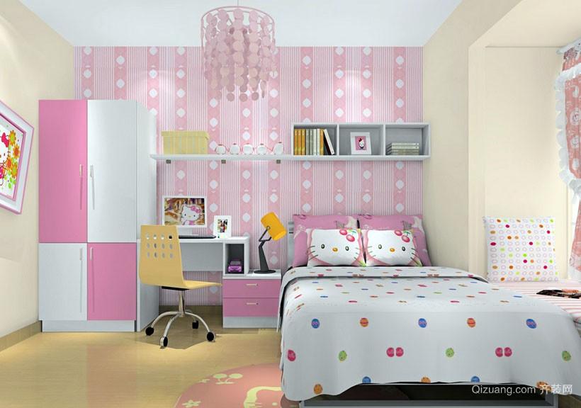 小女生粉色系儿童房装修效果图