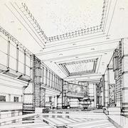 美式简约风格客厅手绘图