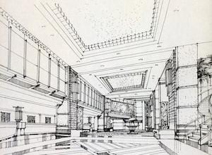 美式简约风格室内设计手绘效果图