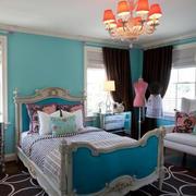 海蓝色卧室背景墙装饰