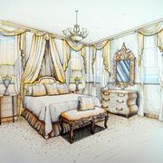 美式简约卧室飘窗手绘图