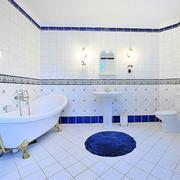 美式蓝白色简约浴缸效果图