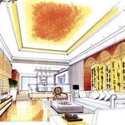 美式别墅手绘图家居装饰