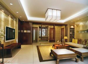 中式大户型客厅隔断屏风装修效果图