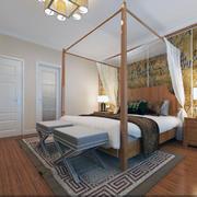 别墅卧室床架图示