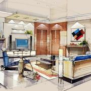美式简约别墅客厅手绘图设计