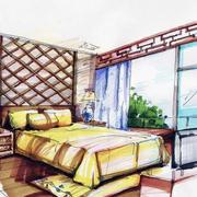 美式简约原木卧室手绘图设计
