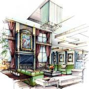 大型美式别墅吊顶手绘图