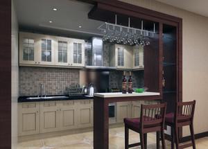 精美的大户型厨房吧台设计效果图