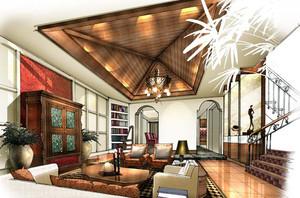 美式简约风格客厅吊顶手绘图