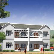 纯色调房屋整体图