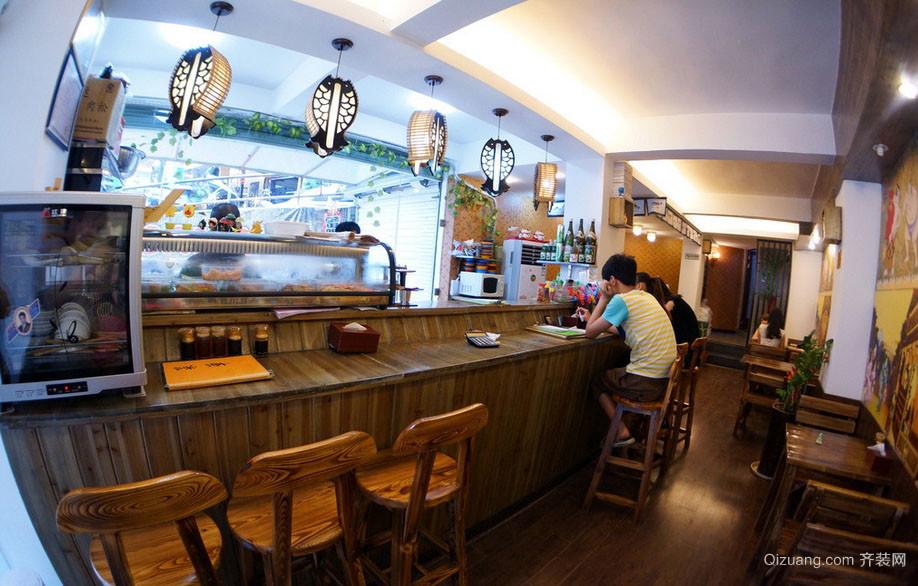 日式风格的70平米寿司店铺装修效果图