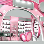 粉色系现代简约风格展厅效果图