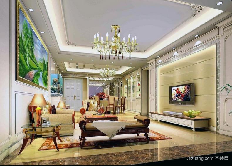极致华美的大户型欧式客厅装修效果图