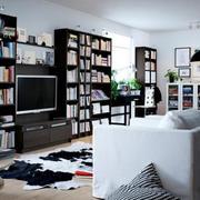 别墅客厅书柜整体设计