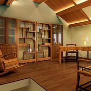 中式原木浅色书柜效果图
