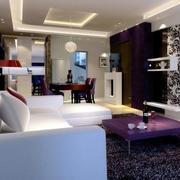 别墅简约风格客厅背景墙设计