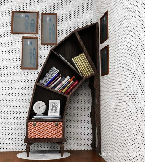 不一样的书房:简约风格创意书房书架装饰