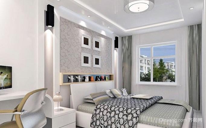 大户型暖色调卧室床头背景墙效果图