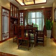 中式深色原木桌椅装饰
