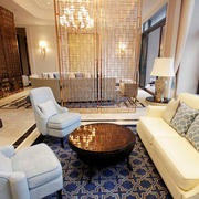 欧式简约风格豪宅客厅沙发装饰