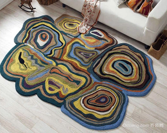 美艺设计:客厅手工编织防滑地垫装修效果图