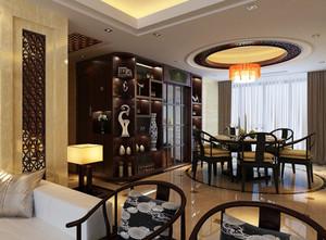 中式别墅餐厅实木桌椅装修效果图