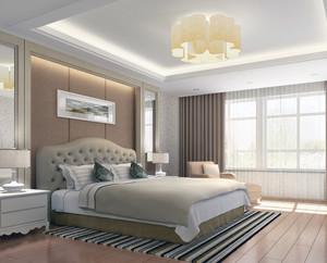 现代欧式大户型卧室台灯设计效果图
