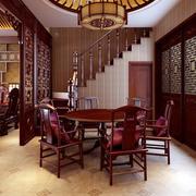 别墅原木深色餐厅装饰