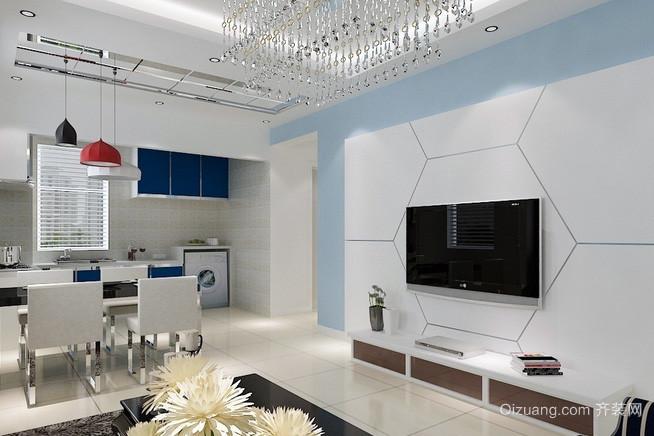 自然风格跃层电视墙背景效果图