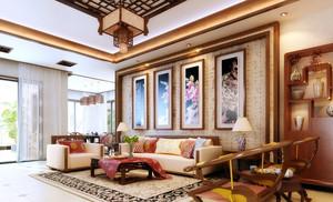 别墅时尚风格客厅现代装饰画效果图