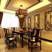 中式原木餐厅背景墙装修