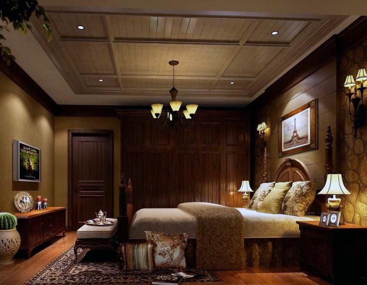 小户型欧式卧室床头背景墙装修效果图