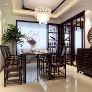 复式楼餐厅深黑色原木桌椅装饰