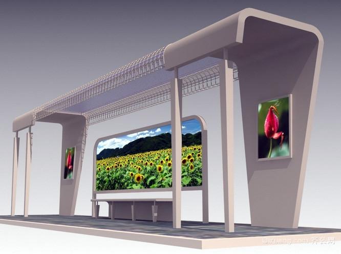 都市时尚风格简约公交车站台装修效果图