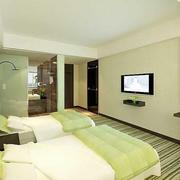清新绿色的宾馆卧室